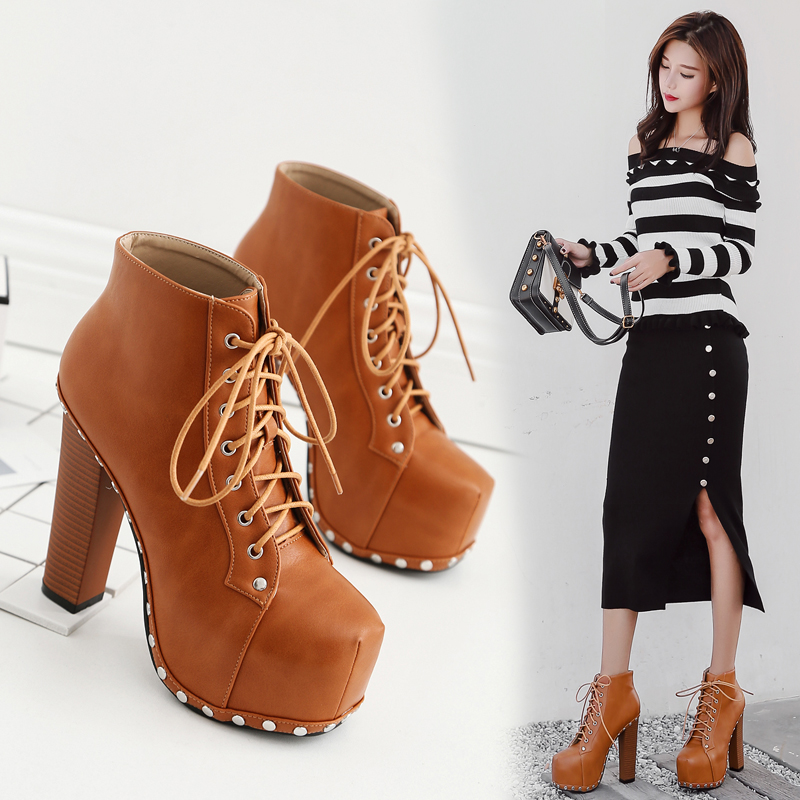 NEW Autumn Women Boots 2017 Zapatos Mujer Heeled Boots Rivets Round Toe Lace-Up Platform Ankle Boots Women Shoes Plus Size Brown female s lace up bow knot women glitter rivets rome sandal on platform plus size 42 43 round toe girls summer shoes flip flops