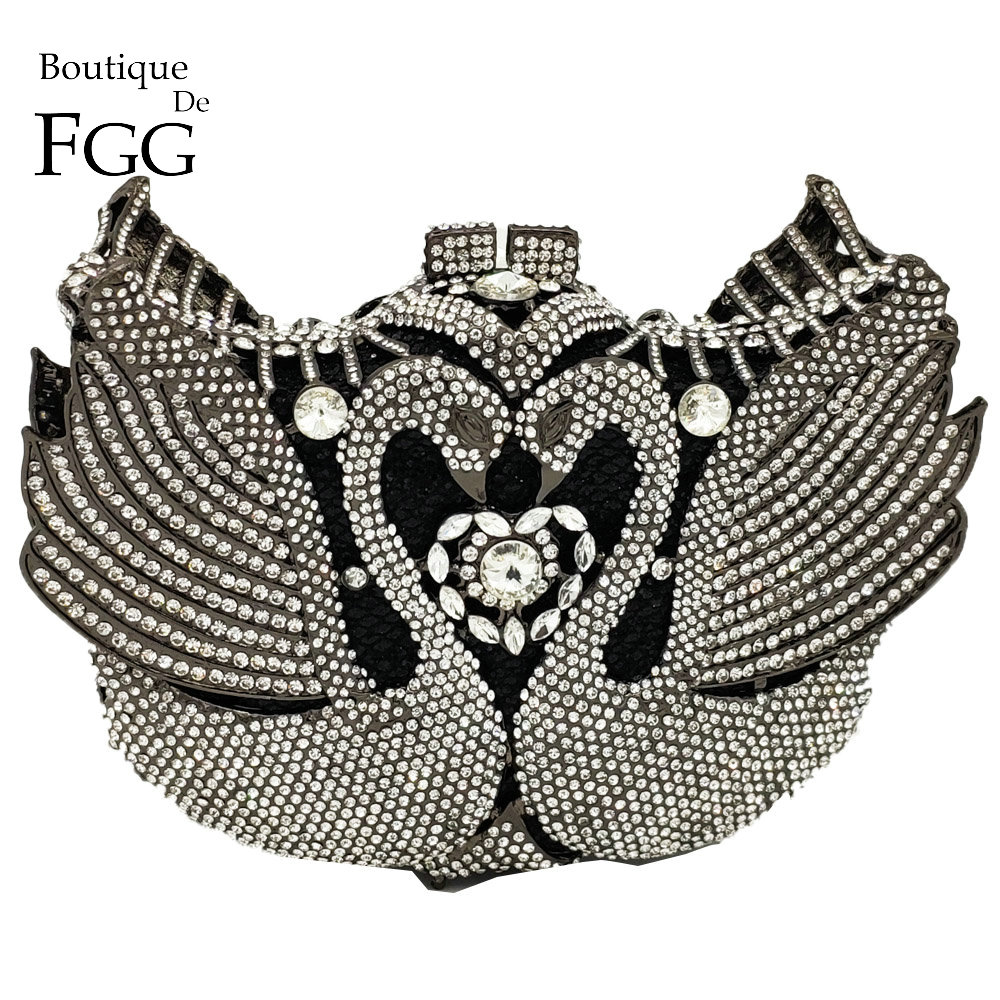 Boutique De FGG Luxury Crystal Swan Clutch Minaudiere Women Evening Bags Wedding Party Cocktail Handbags and Purses Ladies Bag