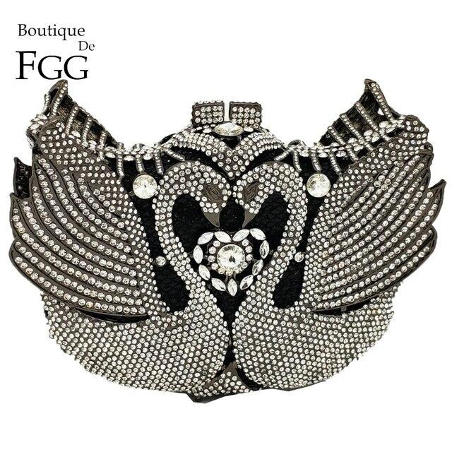 Boutique De FGG Luxury Crystal Swan Clutch Minaudiere Women Evening Bags  Wedding Party Cocktail Handbags and Purses Ladies Bag 3583ca3c507b