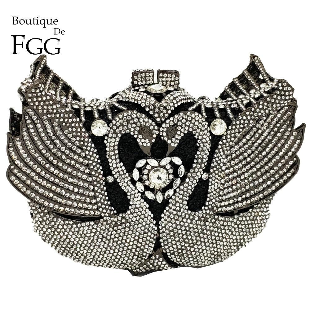 Boutique De FGG Luxury Crystal Swan Clutch Minaudiere Women Evening Bags Wedding