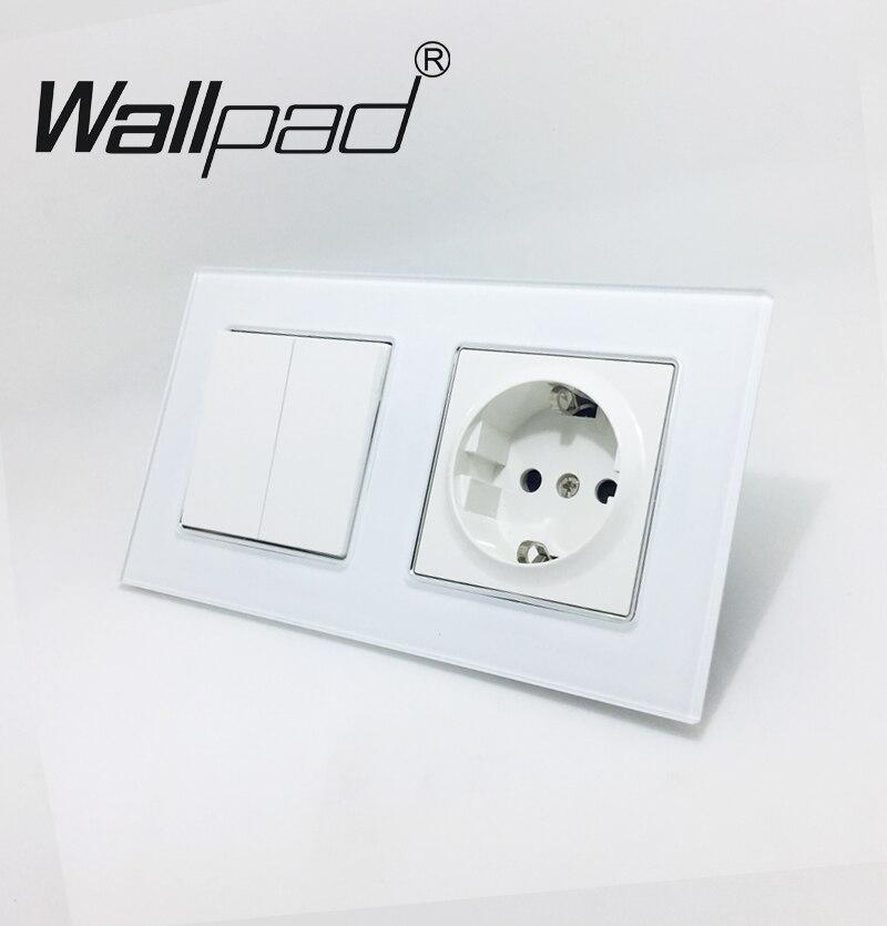 Wallpad Blanc Cristal Verre Schuko UE Mur Prise D'alimentation avec Griffes Montage et 2 Gang 2 Façon Dont La Lumière Double Place interrupteur Mural De contrôle
