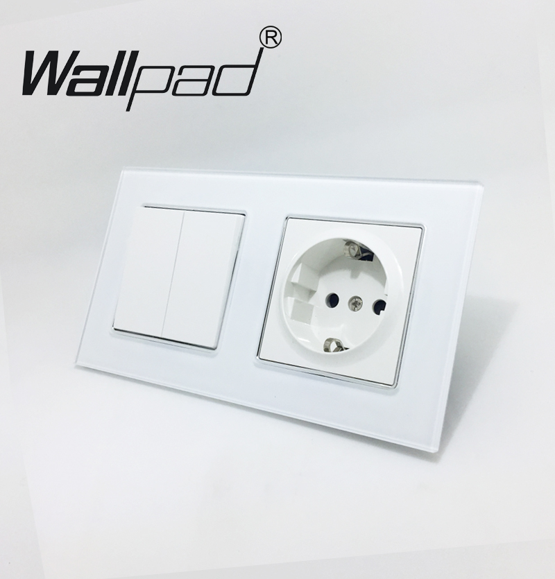 Wallpad White Crystal Glass Schuko EU Wall Power Socket with Claws Mount and 2 Gang 2 Way Light Double Place Control Wall Switch цена