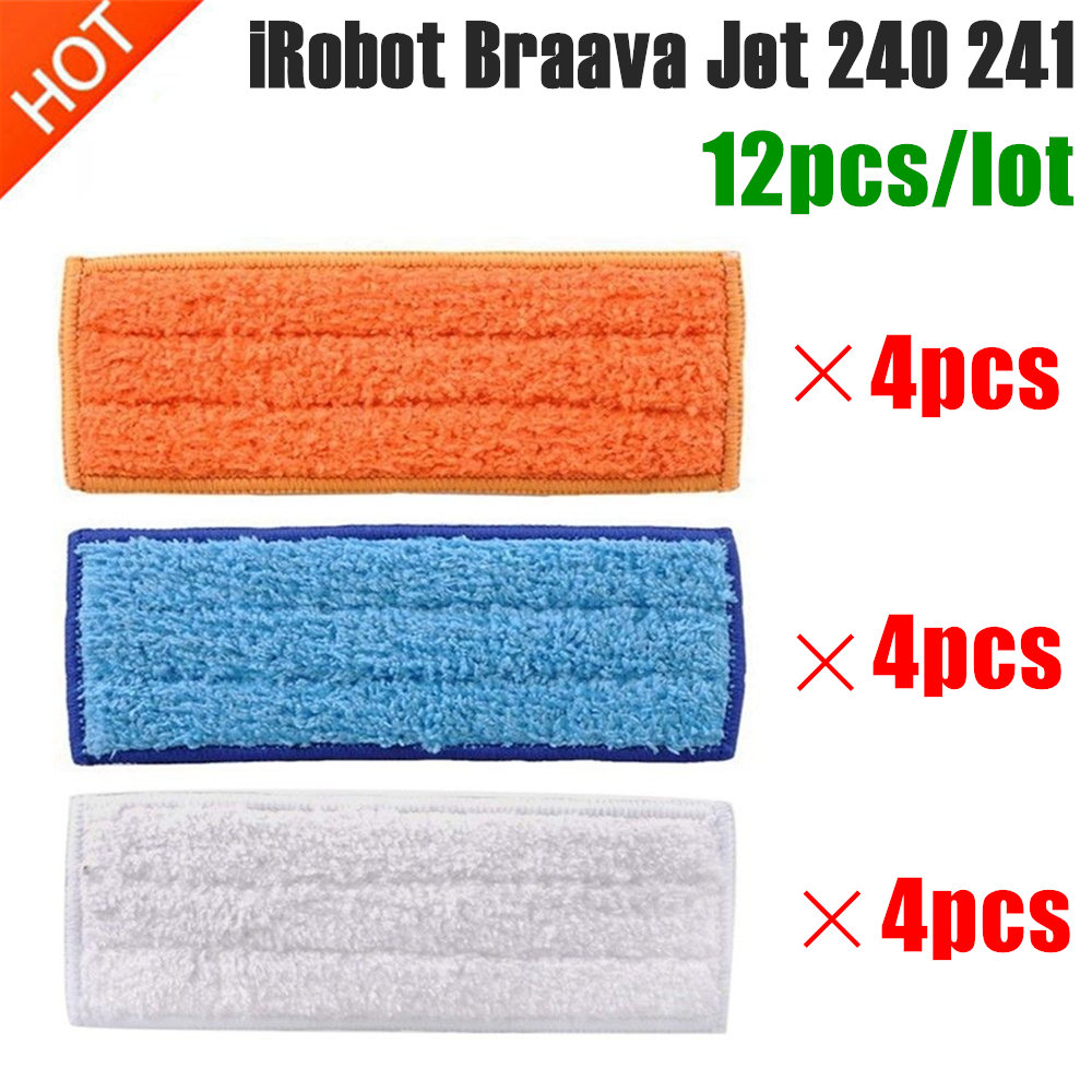 12pcs Washable Mopping Pads Vacuum Cleaner Sweeping Pad Cloth Replacement Parts For IRobot Braava Jet 240 241 Cleaner Robots