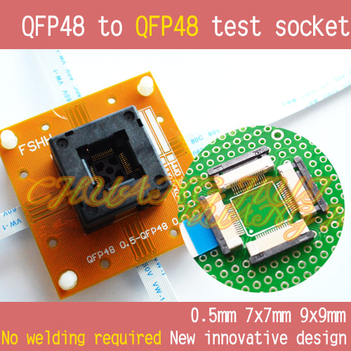 No welding QFP48 to QFP48 test socket TQFP48 LQFP48 48 Pitch=0.5mm Size=7x7mm 9x9mm tms320f28335 tms320f28335ptpq lqfp 176