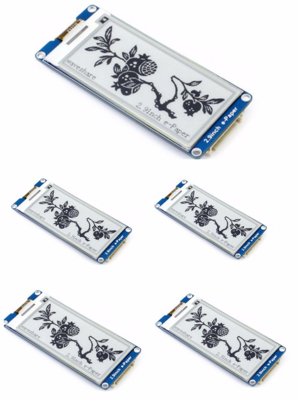 5 pcs/lot 2.9 pouces écran e-ink, 2.9 ''e-paper, 296x128, deux couleurs d'affichage: noir, blanc, interface SPI, prend en charge l'actualisation partielle.