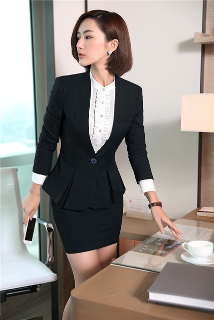 Formal Skirt Suits With 2 Piece Jackets And Skirt Uniform Styles
