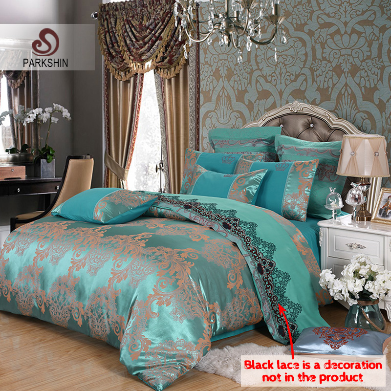 ParkShin 布団寝具セットクイーンテンセルシルクの高級布団カバーベッドシートホット販売女王王ダブル青ジャカードベッドリネンセット  グループ上の ホーム&ガーデン からの 寝具セット の中 1