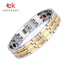 купить Oktrendy Bio Magnet Energy Bracelet for Men Golf Bracelets Titanium Steel Link Chain Wristband Magnetic Power Pulseira по цене 735.33 рублей