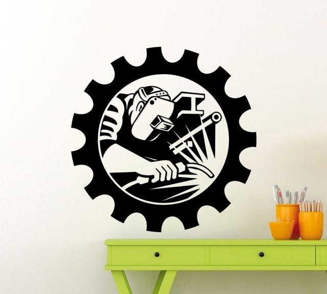 Industrial Welding Man Welder Wall Sticker Vinyl Art Designed Wall