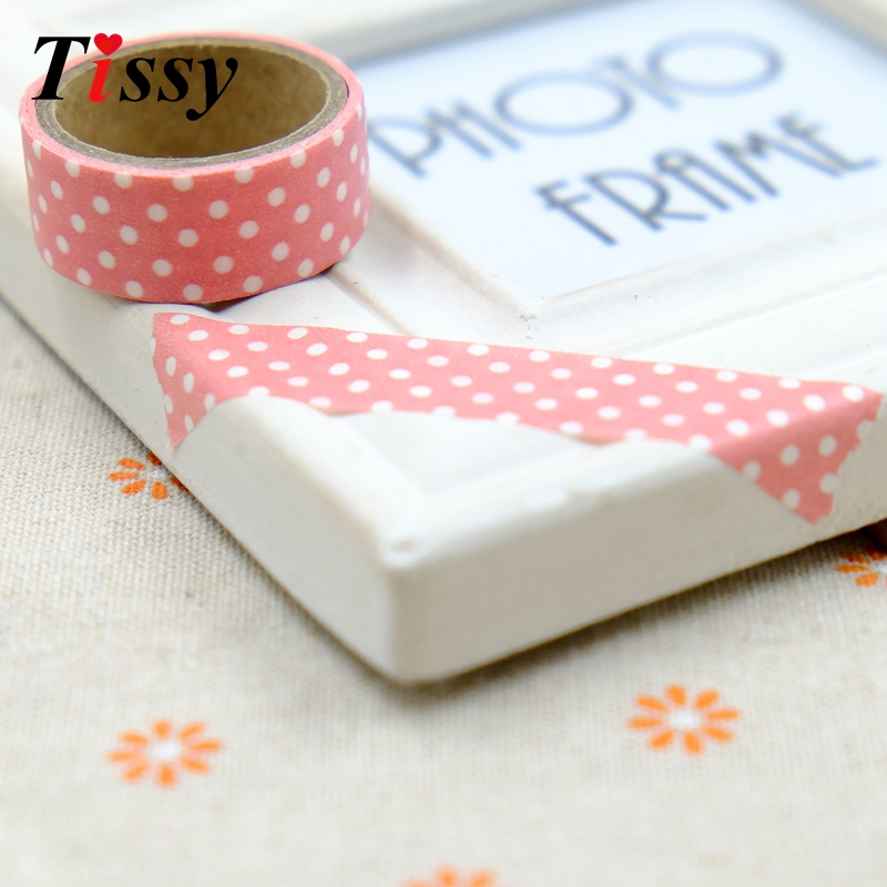 8PCS Pretty Polka Dots Stickers Masking Tape Paper Tape Washi Paper Tapes For DIY Scrapbooking Decoration Stickers Kids Gifts