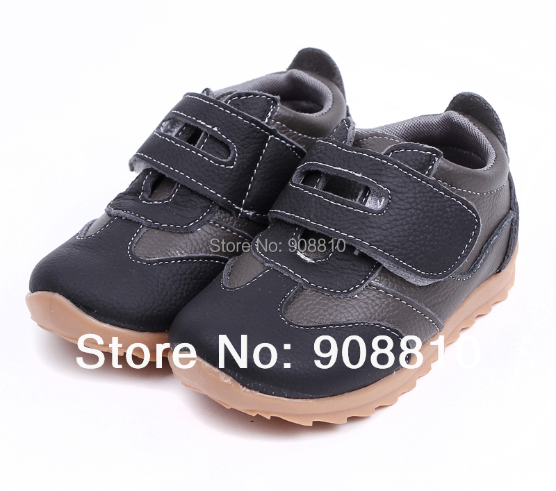 New !!children sneakers 100% leather black grey sport shoes baby items tennis shoes in discount