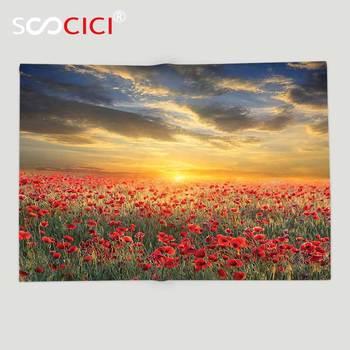 Custom Soft Fleece Throw Blanket Poppy Decor Poppy Field Sunset Sky Evening View Golden Sun Lights Dark Clouds Graphic