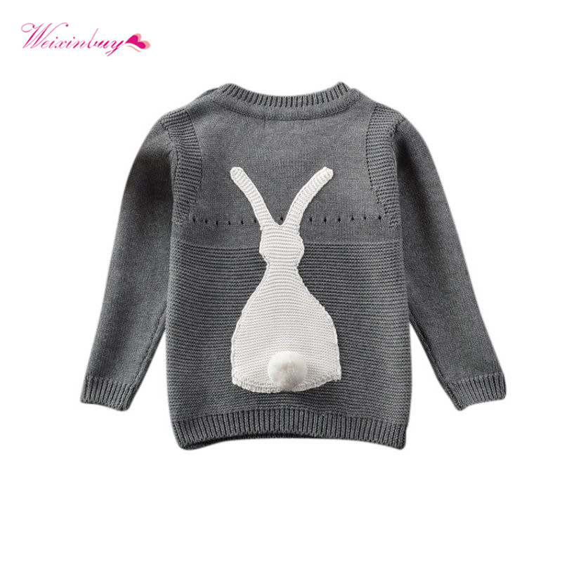 WEIXINBUY Autumn Kids Long Sleeve O-neck Sweater Baby Boys Girls Toddler Jumper Knitwear Rabbit Pullovers