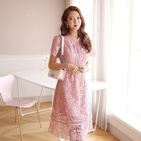 Vestidos Summer 2019 Elegant Hollow Out Lace Dress Pink Women Short Sleeve Office Lady Party Dresses Floral Crochet Casual Dress