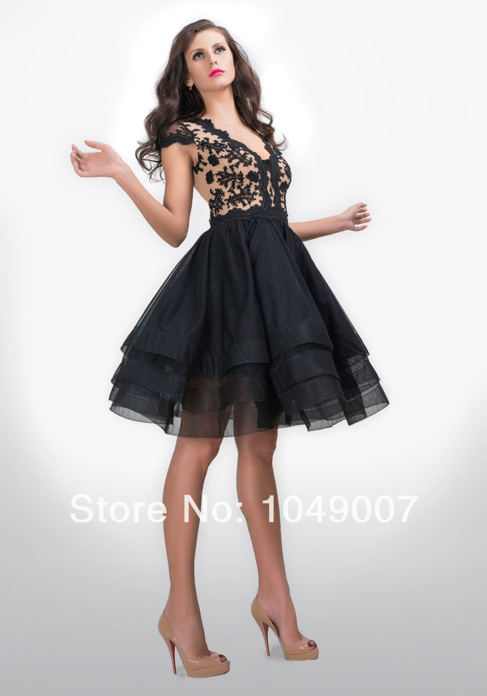 Aliexpress.com : Buy 2014 Custom Made Cap Sleeves Lace Short Prom ...