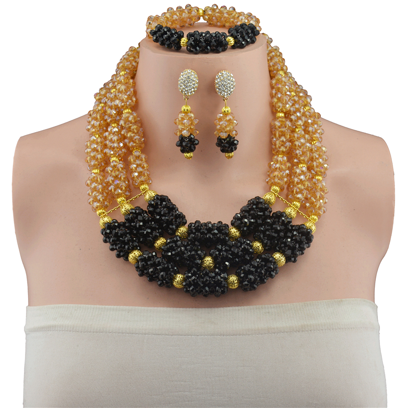 Multi-layer Necklace Gold-color Champagne Black Indian Nigerian Wedding Jewelry Sets Party African Beads Jewelry Sets red color african beads jewelry sets two layer beads indian jewelry sets luxury statement choker necklace fashion jewellery