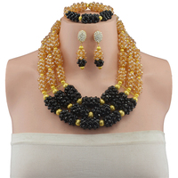 Multi layer Necklace Gold color Champagne Black Indian Nigerian Wedding Jewelry Sets Party African Beads Jewelry Sets