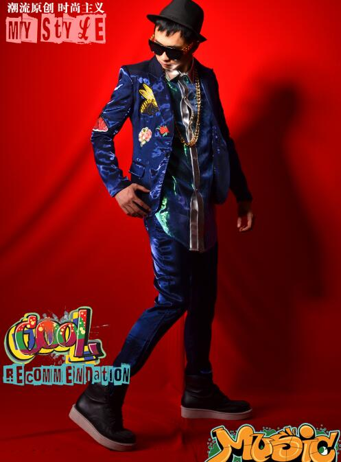 Dsdj Hop trousers Hip Are Mâle Chanteur Suit Discothèque shirts Costume Couture Performance Accessoires Be Département Bleu Vêtements Bar Brodé De Royal To YqTwExE