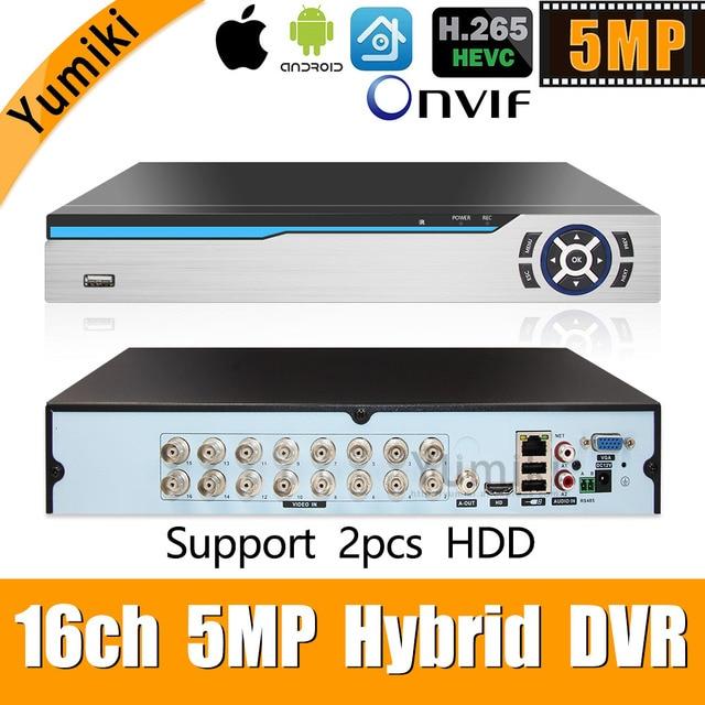 6 em 1 h.265 + 16ch ahd vídeo híbrido gravador para 5mp/4mp/3mp/1080 p/720 p câmera xmeye onvif p2p cctv dvr ahd dvr suporte usb wifi