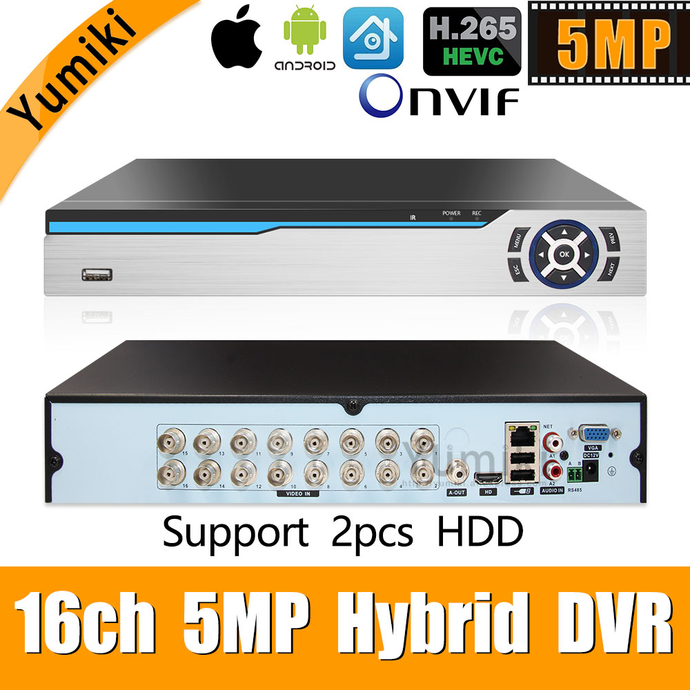 Enregistreur hybride vidéo 6 en 1 H.265 + 16ch AHD pour caméra 5MP/4MP/3MP/1080 P/720 P Xmeye Onvif P2P CCTV DVR AHD DVR prise en charge USB wifi