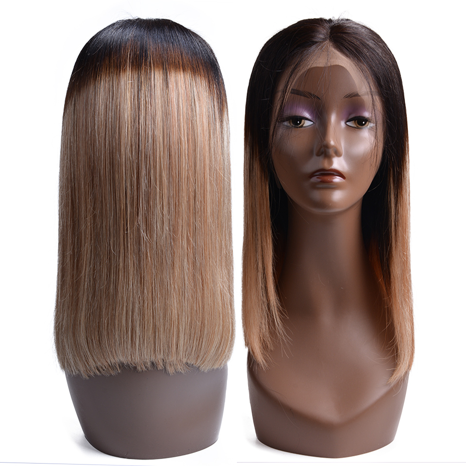 Short Bob Wigs 1B 27 Lace Front Human Hair Wigs Straight Human Hair Wig For Black Women 150% Density Remy Hair(China)