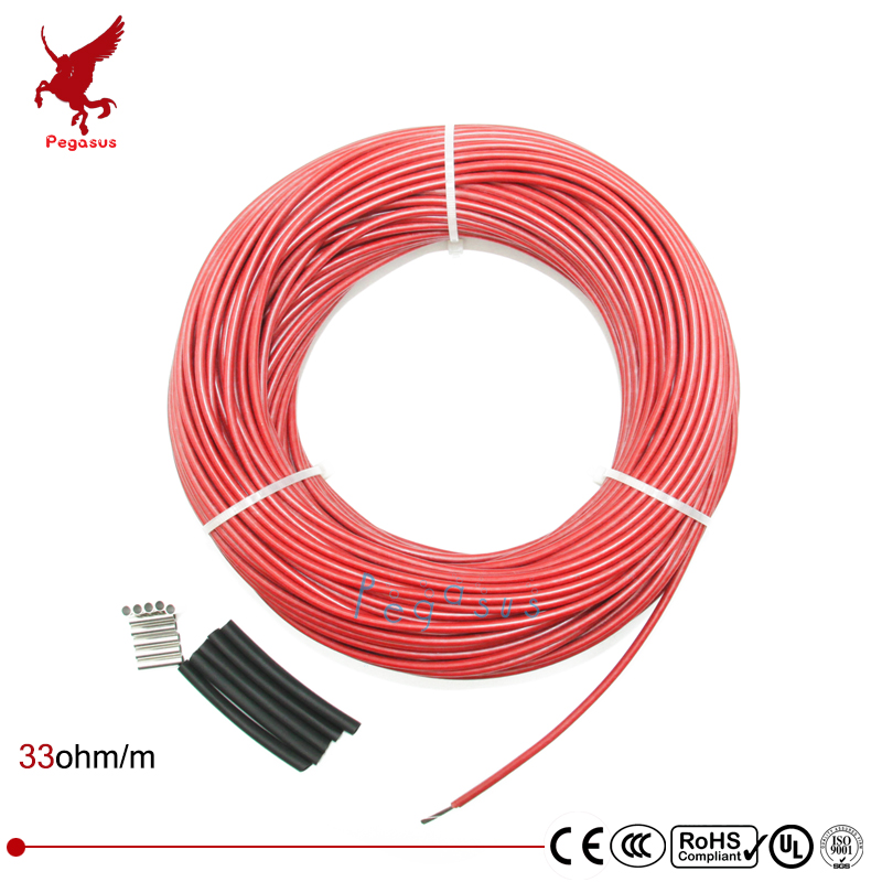 50 meters Carbon fiber heating cable Silicon rubber heating cable 5V12V24V220V Heating cable 33ohm/m Heating wire low cost 12k20m 73w 33ohm hydrogen rubber carbon fiber heating wire safety and environmental protection the hot wire temperature floor