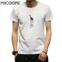 Summer Cotton Clothing Brand Cute Giraffe Printed T Shirt Mens Slim Fit T Shirt Summer Hipster