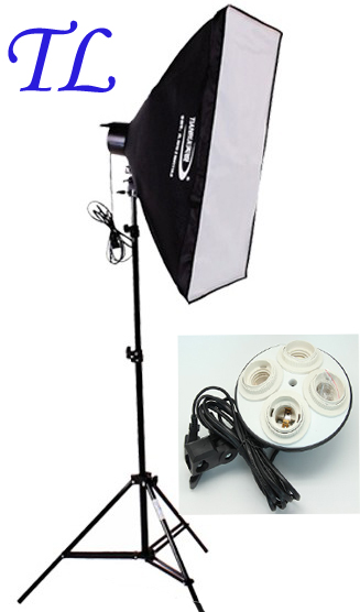 Photo studio SoftBox set light Photography Studio 4sockets lamp holder hold fo 24W LED 175W Bulb