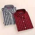 Camisa Xadrez vermelha Mulheres Blusas de Algodão Manga Comprida Tops Ladies Blusas Femininas Camisas Das Mulheres Plus Size de Roupas de Verão Outono de 2016