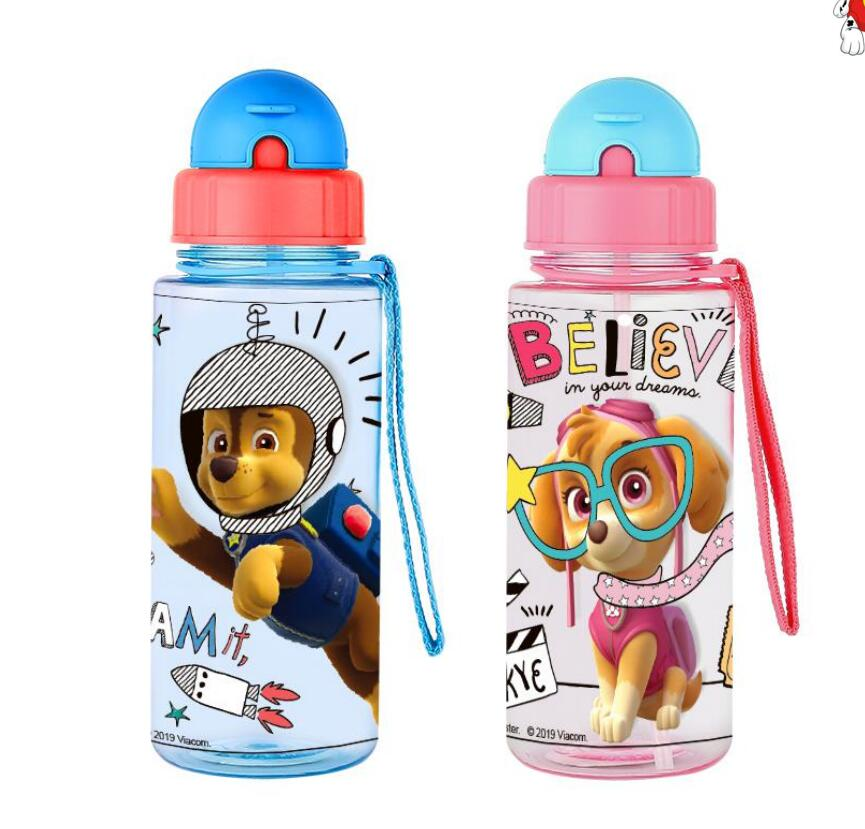Genuine Paw Patrol Kids Feeding Bottle With Straw Cartoon Lovely Eco-friendly Lid Portable PP Tritan Cup Sport Bottle 500ML