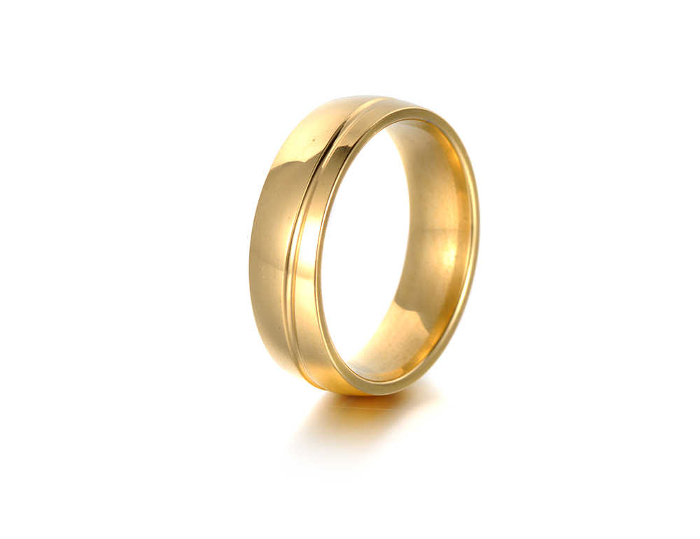 ใหม่ Curve ทองสีแหวนสแตนเลสผู้หญิงผู้ชายคู่แหวนไทเทเนียมสแตนเลสสตีลเครื่องประดับ Anneau R18120