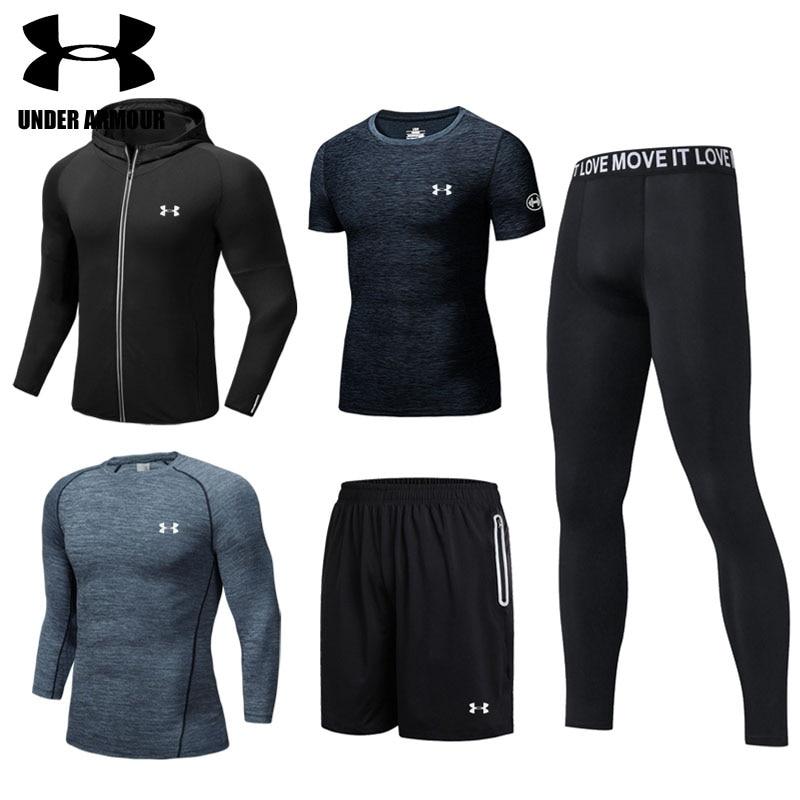 Under Armour Degli Uomini di sport tuta Da Ginnastica abbigliamento da jogging pantaloni di formazione allenamento vestiti 2-5 pezzi quick dry esercizio giacche di alta qualità