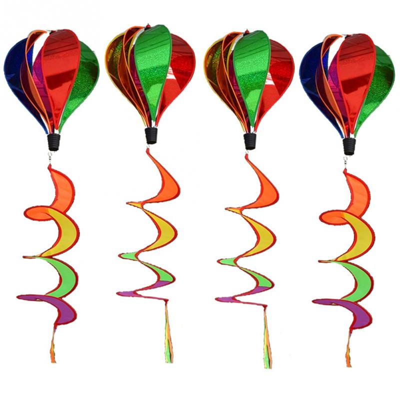 Colorful Hot Air Balloon Wind Spinner Rainbow Sequins Windsock Striped Outdoor Yard party festival celebration Decoration