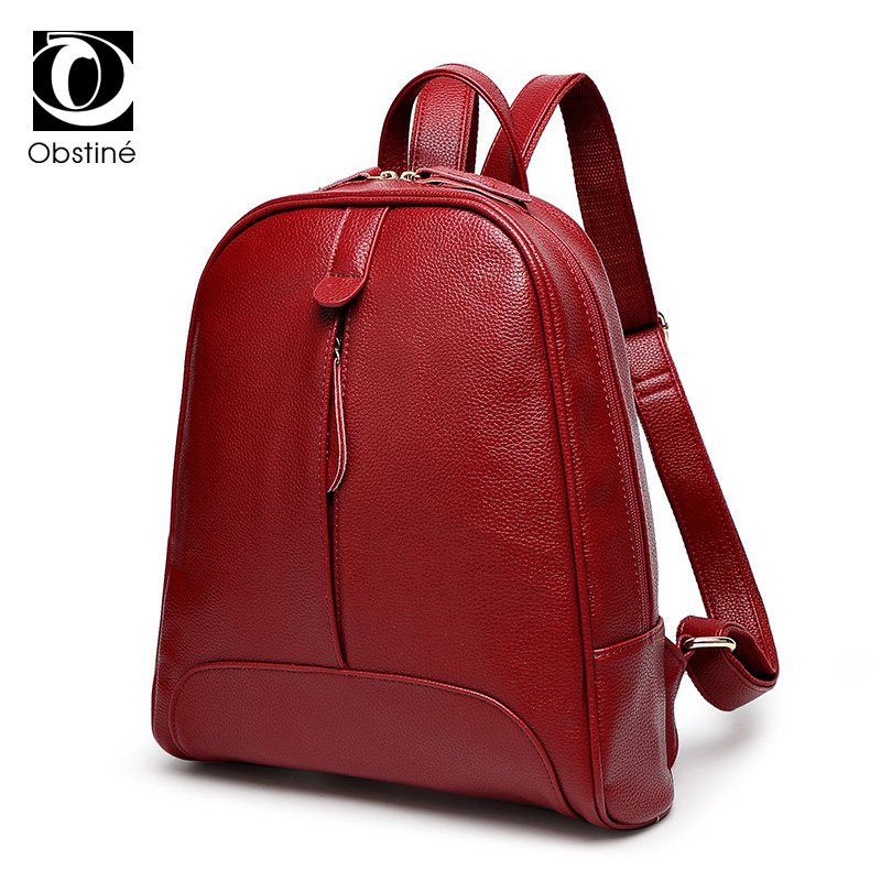 Fashion Women Backpacks Youth Pu Leather Backpack Female Red Casual Daypacks For Teenage Girls High Quality Bagpack Bags Woman