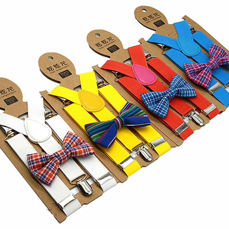 Suspenders Bow Tie Set Kids Adjustment Length High Elasticity 80-130 Cm Height  Trouser Suspender Solid Pattern 3 Clips
