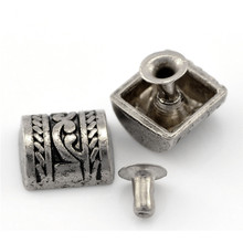 ФОТО 30sets antique silver tone punk spike rivets studs spots fit crafts handbags clothes shoes 11x10mm 6x5mm