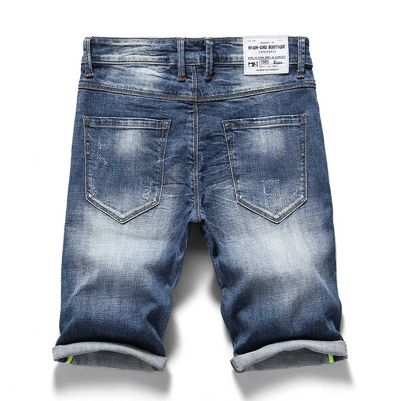 2019 летние новые мужские джинсовые шорты модные повседневные классические эластичные узкие облегающие отбеленные короткие джинсы Мужская брендовая одежда
