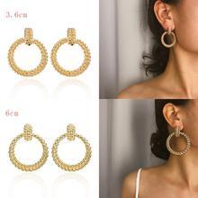 Round Hemp Pattern Earrings Fashion Bohemian Geometric Hollow For Women Jewelry Simple Large Boho Style