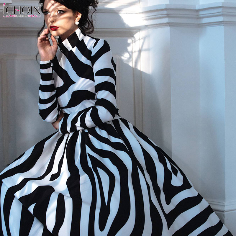 516664251a 2018 Autumn Elegant Long Dress Women Winter Striped Vintage Maxi Dresses  Zebra Print Female Office Dress Bodycon Party Vestidos-in Dresses from  Women's ...