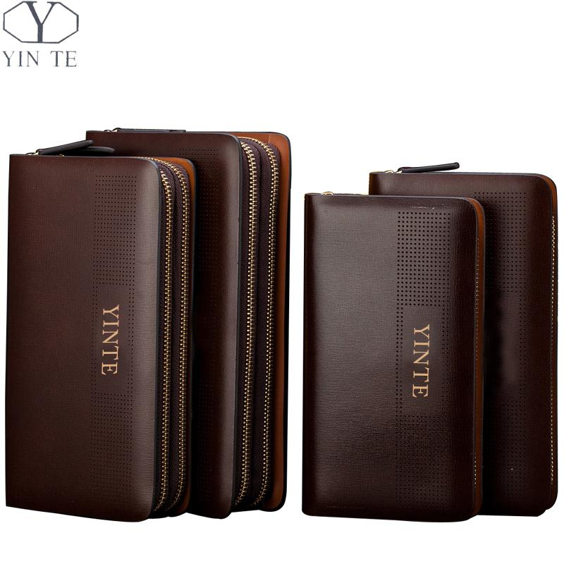 YINTE Men Clutch Wallet Business Leather Men Purse Leather Clutch Double Zipper Phone Wallet Wrist Bag Purse Card Holder T8106-5 men s purse long genuine leather clutch wallet travel passport holder id card bag fashion male phone business handbag