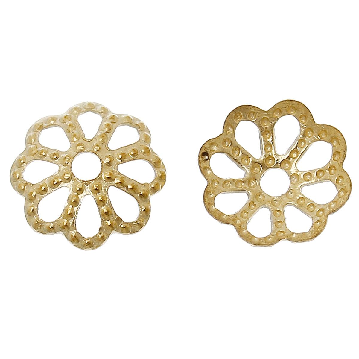 DoreenBeads Brass Beads Caps Flower Brass Tone (Fits 8mm Beads) 6mm( 2/8