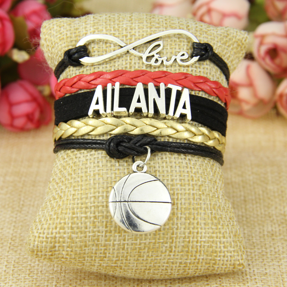 Infinity Love Atlanta Football Team Bracelet Black red golden Sports Fulfill ...