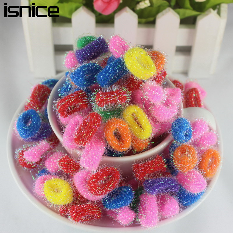 isnice 150pcs elastic headbands Children colorful small circle gold hair band headbands Gum For hair accessory rezinochki