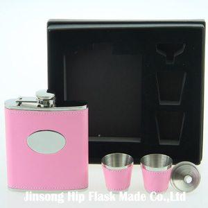 Image 4 - Бесплатная доставка, 7 унций кожа обернутая фляга с 2 чашками и воронкой в подарочной коробке упаковка для мужского подарка