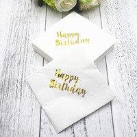 100 sztuk Tabeli bibułka drukowane decoupage serwetki zabytkowe złota ślub birthday party decoration
