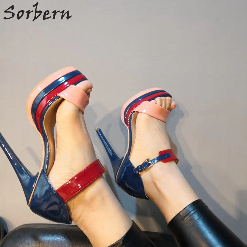 reputable site affordable price united states Sorbern Sandals Platform Navy Blue Sandals Women Summer 2019 Real ...
