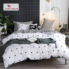 SlowDream Love Heart Printing Bedding Set Geometry Bedspread Flat Sheet Pillowcase Home Textiles Adult Double Bed Linen
