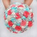 DIY брошь букет Шелковый Невесты Свадебный Свадебный Букет Невесты монетный двор бирюзовый & Коралловый слоновой кости Лента розы Настраиваемый букеты