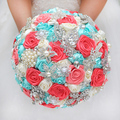 DIY brooch bouquet  Silk Bride Bridal Wedding Bouquet Bridesmaid mint turquoise & Coral ivory Ribbon roses Customizable bouquets