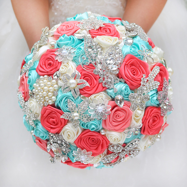 diy brooch bouquet silk bride bridal wedding bouquet bridesmaid mint turquoise coral ivory ribbon roses